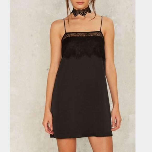 Nasty Gal Dresses & Skirts - 2️⃣🛑 Too Bad Lace Trim Satin Cami Slip