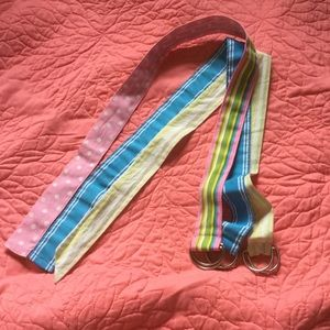 Accessories - Striped D-ring ribbon belts (3-pack!)