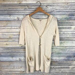 Free People Beige Hooded Cardigan Linen Blend