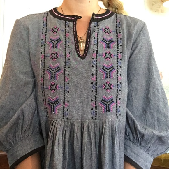 Dream Life Tops - Chambray Boho High Low Top with Amazing Details