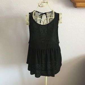 ABOUND peplum back top with lace back