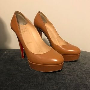Christian Louboutin tan leather platform heels