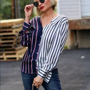 Tops - Open shoulder asymmetrical blouse