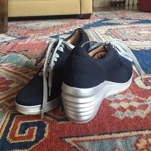 Shoes - Navy wedge sneaker