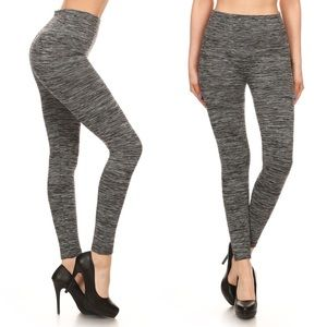 Pants - Charcoal Colored Fleece & Tummy Control Leggings