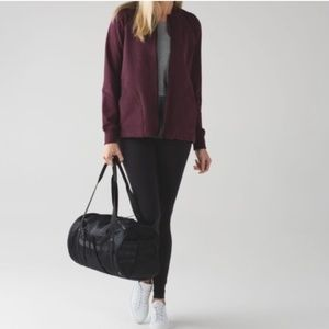 LULULEMON maroon longsleeve pleat to street bomber