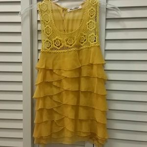 Silk Mustard Crochet Ruffle Top