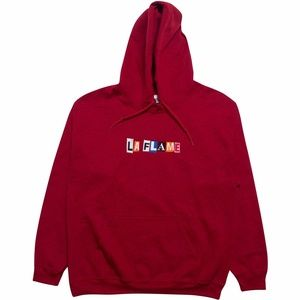 SIXPANELSTUDIO.COM Sweaters - LA FLAME TRAVIS SCOTT HOODIE - CHERRY RED