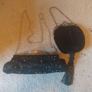 Handbags - Lot of 2 Black Evening Bags Purses