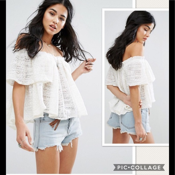 77b86fbc98a Free People Tops | Nwt Thrills And Frills Ivory Crop Top | Poshmark