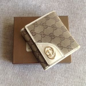Authentic Gucci GG Guccisima leather gold wallet