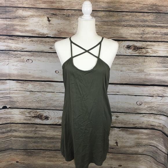 6806481dd9 Free People Dresses & Skirts - Free People Beach olive green tank swing  dress XS