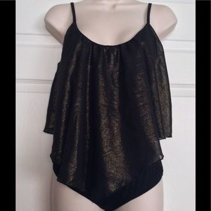 Tops - Black & Gold Shimmer Bodysuit