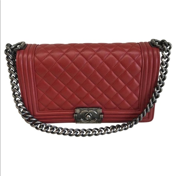 170b78ea7bb9f9 CHANEL Bags | Boy Old Medium Dark Red Lambskin Flap Bag | Poshmark