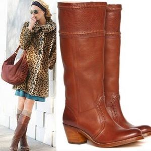 Frye Jane Leather Stacked Heel To the Knee Boots