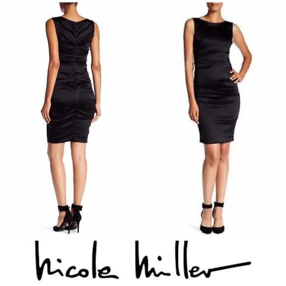 Nicole Miller Dresses New W Tags Black Satin Ruched Dress Poshmark