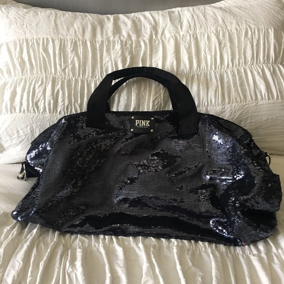838c3df151a9 Victoria s Secret Pink sequin duffle bag. M 599f6a72522b45cd3e00b3de