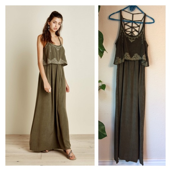 5d68920733df earthbound trading co Dresses | Earthbound Embroidered Olive Maxi ...