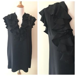 Gorgeous!!! Black Silk Ruffle Tunic/Mini Dress