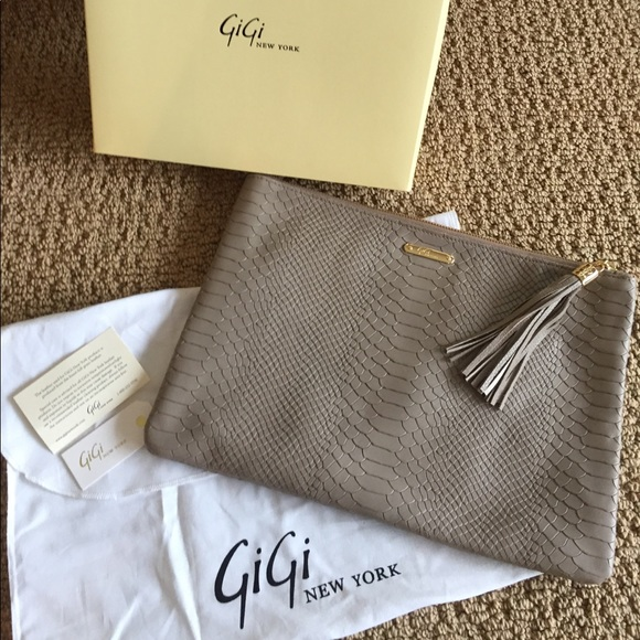 GiGi New York Uber Python Clutch in Stone Color