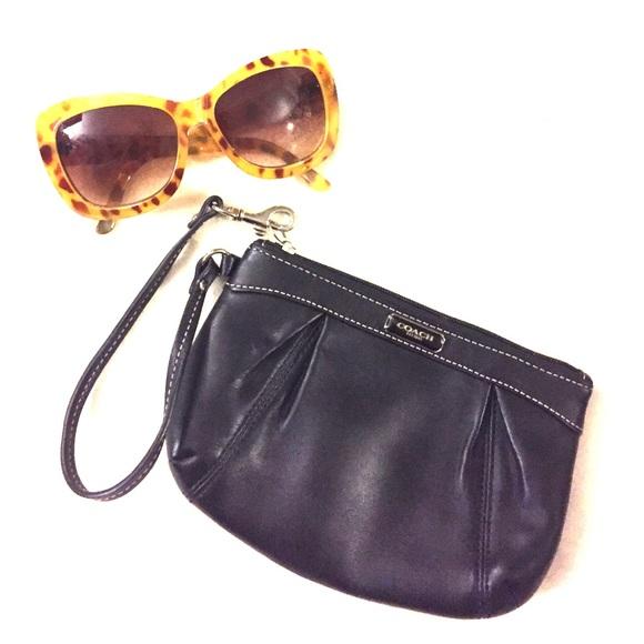 Coach Handbags - COACH Black Leather Wristlet
