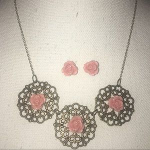 Jewelry - pink rose filigree earring and necklace set