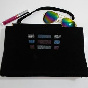Vintage retro Black top handle Purse