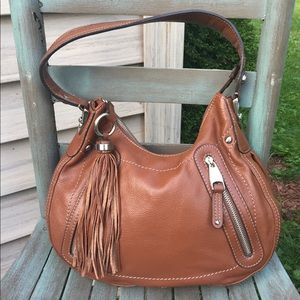 Women's B. Makowsky Cognac Leather Hobo Bag NWOT