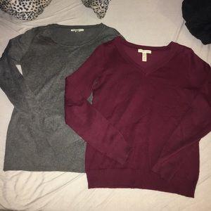 Sweaters - Bundle Of Two Sweaters Burgundy & Grey Sz. M