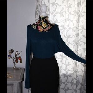 Express Open Shoulder Teal Top