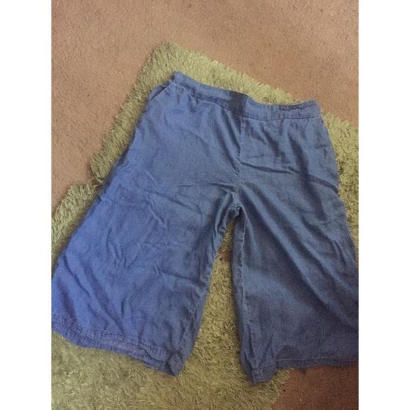 e7de06e603279 Ava & Viv Pants | Denim Chambray Plus Size Culottes | Poshmark