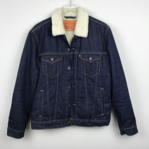 e5e9d96ea637 Levi's Jackets & Coats | Levis Sherpa Trucker Jacket Dark Wash Denim ...