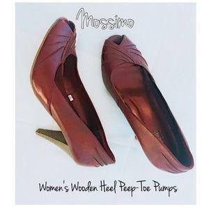 || Mossimo || Peep Toe 👠 Wooden Heel Pumps