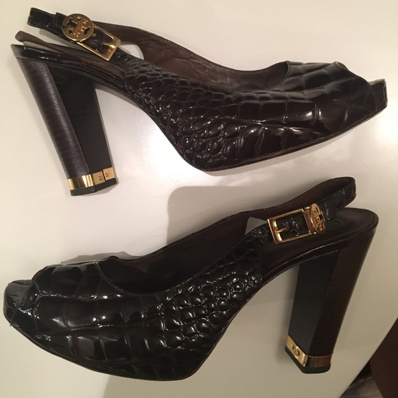 cf67add9f1795 Tory Burch Leather Allison Croc Slingback Heels. M 599fa9437fab3abf0200fa95