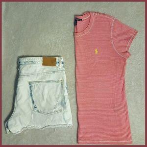 Ralph Lauren Tops - RALPH LAUREN SPORT - Red Striped Basic T-shirt