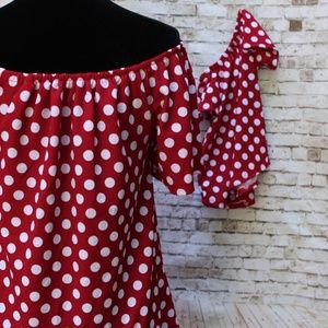 Mommy and Me polka dots off shoulder TOP Matching