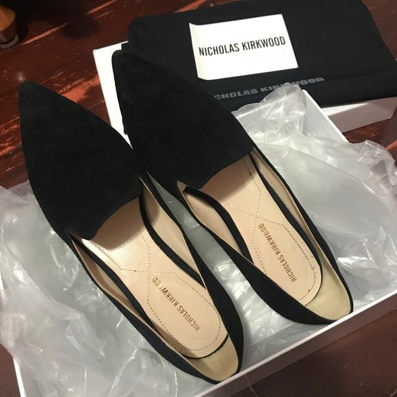 725d5849a3b9 Nicholas Kirkwood Black Suede Pearl Loafers size36