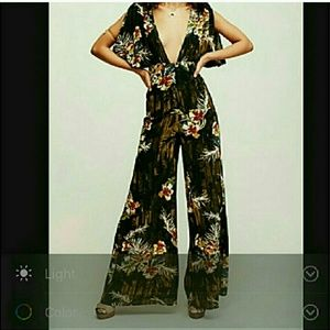 Rare free people tropical jumpsuit