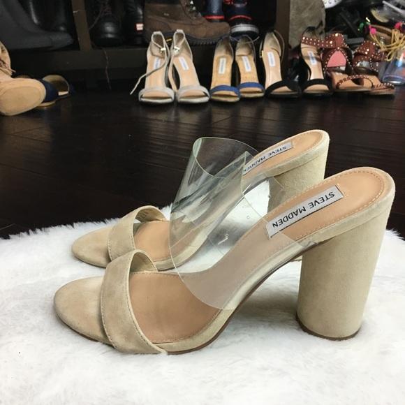 b724fe64340 Steve Madden Cheers tan clear heels. M 599ff5a899086a6231016368