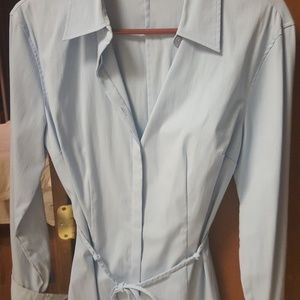 Tops - Collared powder blue button down string tie tunic