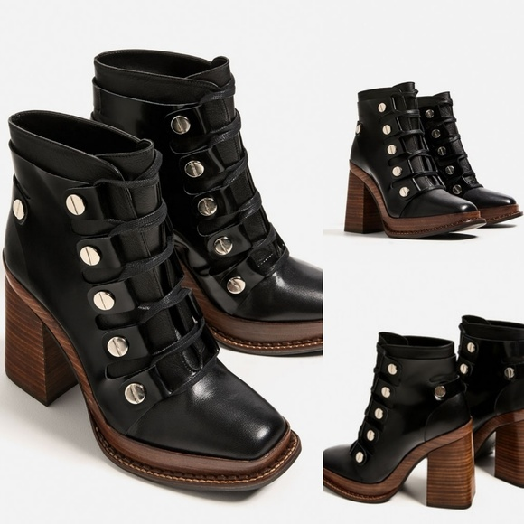 8faf2361207 Leather Heel Ankle Boots w  Wooden Sole Buttons. M 59a03a70c6c7957b9c020597