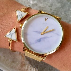Minimalist Marble Gold Luxury Watch