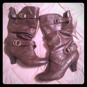 Shoes - Brown Faux Leather Boots with Small Heel