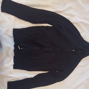 Cotton/cable sweater zipper jacket w/ pockets