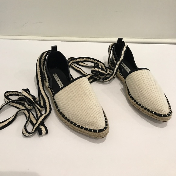 5220f28669b Black & white Zara espadrilles with lace up ties