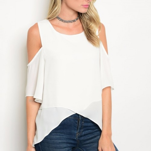 334dba5b918909 Ivory Cold Shoulder Layered Top