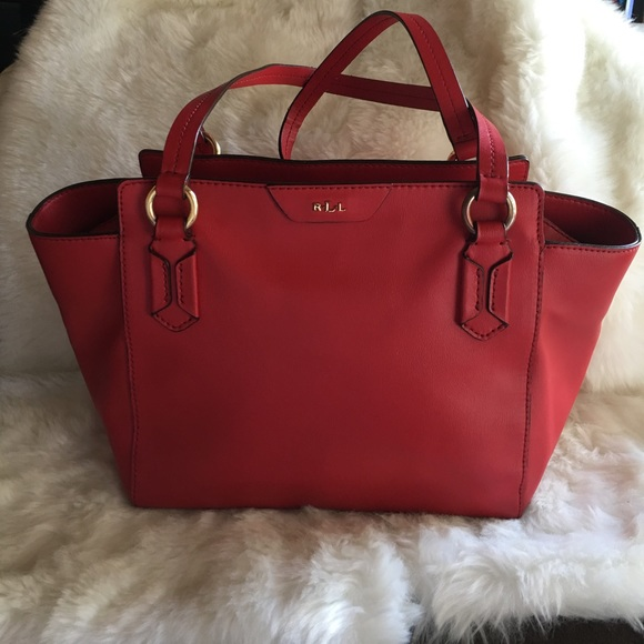 Lauren Ralph Lauren Bags   Ralph Lauren Winford Red Leather Modern ... 081baa3216