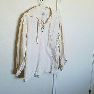 Vintage cream artisan shirt, pullover style