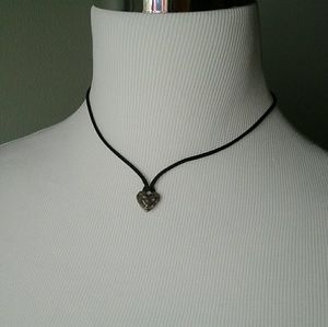 Sterling heart on black cord necklace