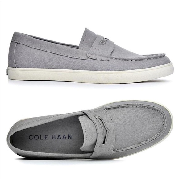 8754ed549bc Cole Haan Other - Cole Haan Hyannis Grey Canvas Penny Loafer
